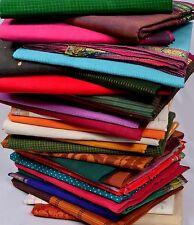 Wholesale Lot 6 Pc Vintage India Handwoven Pure Cotton Zari Fabric Saree Sari