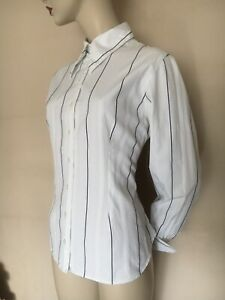 Anne Fontaine Made in France White Black Stripe Shirts/Blouse Size 42, UK12