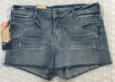SILVER AIKO Distressed Blue Jean Shorts Size 30 Mid Rise Super Stretch NWT $59