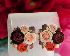 Flower EARRINGS HANDCRAFTED Fashion polymer clay pretty wedding peony HANDMADE