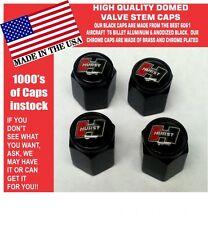 Domed Aluminum Hurst Black & Red on Black Olds Oldsmobile 442 Valve Stem Caps