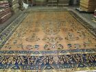 Antique Agra Indo Lahore Larestan Area Rug Hand Knotted Wool 11'6 x 15'9 Carpet
