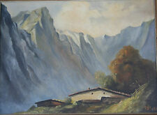 Swiss Alpine Scene Chalet surrounded by Mountains Oil on Board Signed P.St. 56