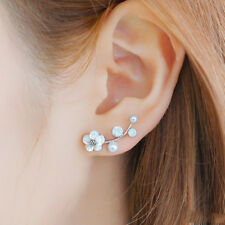 925 Sterling Silver Pin Pearl Flower Large Ear Climber Crawler Cuff Earrings
