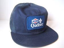 Irving Oil Quebec Patch Hat Vintage Dark Blue Victory Caps Snapback Trucker Cap