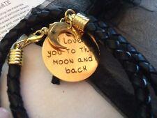 Love YOU to the Moon & Indietro CIAN gioielli in pelle 18k Oro Bracciale Placcato Piastra