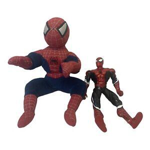 """Marvel 2002 13"""" Plush Spiderman And Vtg. 10"""" 2000 Marvel Pose-able Spider-Man."""