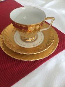 Vintage  Australia Fine China Gold &White Trio, Cup Saucer, Plate