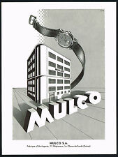 1950 Old Vintage Mulco Swiss Watch Factory Building Mid Century Art Print Ad