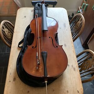 4/4 Full Size Cello, Case and Bow