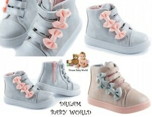 Baby Girls boots shoes high HI TOP ankle bow size 3 - 12UK  KIDS Zip TRAINERS