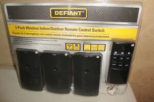 DEFIANT Wireless Indoor/Outdoor Remote Control Switches 3 Pack