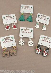 New Christmas Festive Design Drop Earrings Snowman Snowflake Reindeer Tree Bell