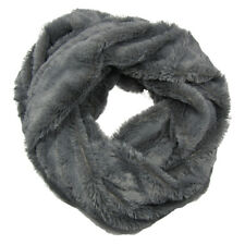 Ladies One Button Soft Grey Faux Fur Snood Neck Wrap in Gift Bag SC1137