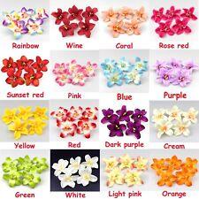 "10/100Pc 3.1"" Silk Orchid Flower Heads Bulk for Crafts Wedding Home Decor Supply"