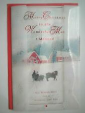 "Carlton~""MERRY CHRISTMAS TO THE WONDERFUL MAN I MARRIED"" GREETING CARD+ENVELOPE"