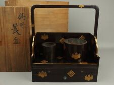 Japanese antique Makie Lacquered Wooden Cigarette tray Tea crafts handmade 2