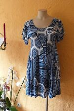 MAGNA Tunika Kleid 48 50 NEU Blau weiß A-Form fließend Stretch LAGENLOOK EDEL°°°
