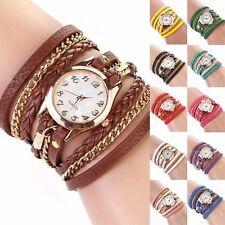 New Elegant Womens Girl Faux Leather Quartz Analog Bracelet Wrist Watch