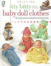"Itty Bitty Baby Doll Clothes Knitting Patterns 12 Ensembles for 5"" Dolls NEW"