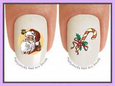 Nail Decals #813X CHRISTMAS Vintage Santa 2 Candy Cane WaterSlide Nail Art