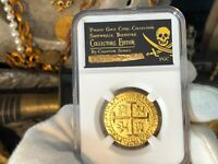 PERU 1710 8 ESCUDOS 1715 SHIPWRECK PIRATE GOLD COINS TREASURE  JEWELRY COB