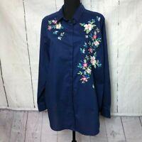 Liz Claiborne Womens Blouse Size 1X Blue Pink Floral Embroidery Buttonup Cotton