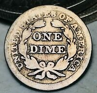 1856 Seated Liberty Dime 10c Ungraded Good Small Date Worn US Silver Coin CC5559