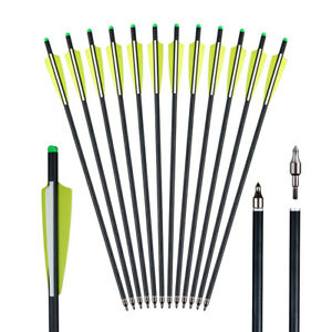 20 inch Carbon Crossbow Bolts Field Tips Fletched 4'' Vane Arrows Hunting Target