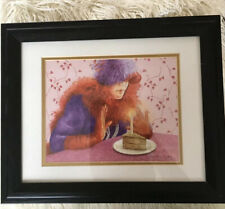 Red Hat Society Framed Matted Print Signed Sue Ellen Cooper 1 Year Anniv? EUC