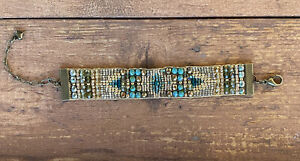 Antique Brass Turquoise Peridot czech wide beaded bracelet Sundance Inspired