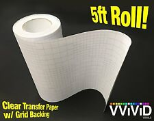 """High Gloss Clear Vinyl Transfer Paper Self-Adhesive Roll w/ Grid Backing 12"""" x"""