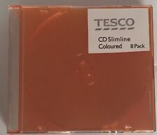 8 x CD DVD Slimline 5.2 mm Cas, pour 1 disque avec Orange Couleur Plateau, Pack de 8
