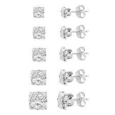 Set of 5 Sterling Silver 925 Princess Cut Cubic Zirconia Stud Earrings pairs CZ