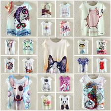 Harajuku Womens Summer Cute Animal Print Loose T-Shirts Batwing Tops Tee Blouse