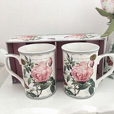 SET 2 VINTAGE STYLE FINE CHINA MUGS GIFT BOXED ROSE COFFEE TEA SET KITCHEN CUP