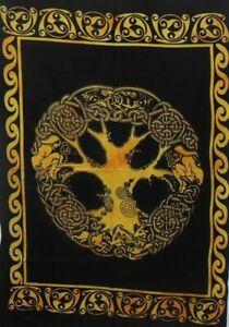Mandala de India Amarillo Celta Árbol Hogar Deco Bohemio Colgante de Pared Manta