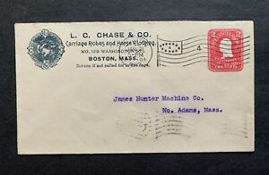 1904 BOSTON MA LC CHASE CARRIAGE ROBES HORSE CLOTHING AD ! FLAG CANCEL PSE COVER