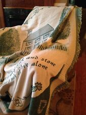 Saltbox House Primitive Home Made of Love Green Cotton Woven Throw Blanket NEW