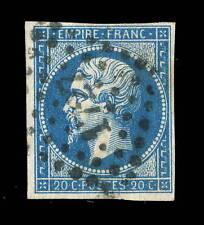 FRANCE - N°14B 20c EMPIRE ND Type 2 OBLITÉRÉ (03h) TB 4 marges, légère rousseur