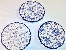 """WORLD MARKET 3 LUNCHEON PLATES 8"""" BLUE & BEIGE Stoneware"""