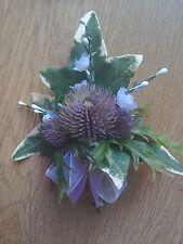 6 Scottish wedding thistle white heather  Buttonhole corsage many colour ribbon