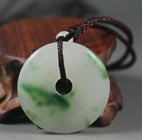 Chinese natural jade hand-carved white green pingan buckle lucky pendant