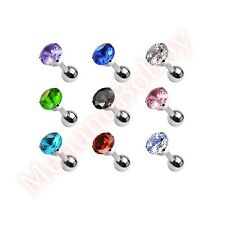 316L Surgical Steel Round CZ Prong Tragus Cartilage Barbell Ear Ring Jewellery