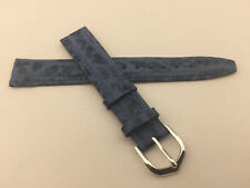 16mm Genuine Leather Swiss Made watch Band Strap Blue