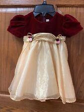 girls 18-24 months Burgandy & Gold Dress Fancy, Christmas, Winter EUC