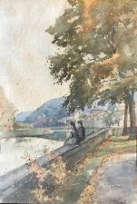 Bord de la Moselle par Hervé Mathé (1868-1958) aquarelle sur papier XIXe