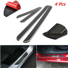 4Pcs Car Suv Scuff Plate Door Sill Carbon Fiber Pad Cover Pedal Protector Strip