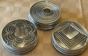 Williams Sonoma 3 Cookie Cutter Sets in Storage Tin 6-11 Cutters In Each Tin NEW