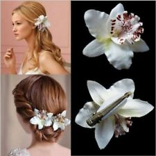 Wedding Bridal Flower Orchid Leopard Hair Clip Brooch Pin Barrette Decor 2x